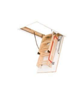 Scara de mansarda Fakro LWZ Plus, Izolatie 3 cm, Usa alba, Sipca ornamentala si Kit de montaj inclus