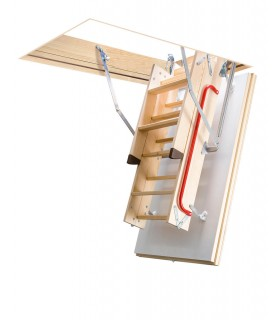 Scara de mansarda Fakro LTK Energy, Lemn de pin, Izolatie 6 cm, Usa alba, Maner de sprijin