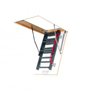 Scara metalica Fakro LMK Komfort, Izolatie 3 cm, Usa alba, Maner de sprijin