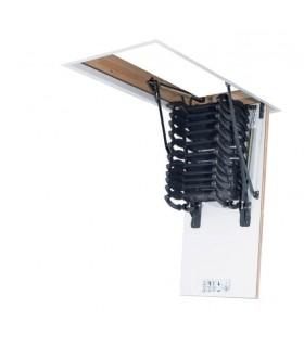 Scara pantograf Fakro LST, Izolatie 3 cm, Usa alba, Kit de montaj, Sipca ornamentala